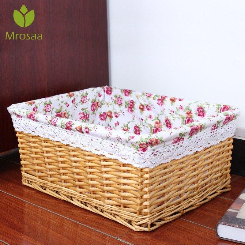 Fashion Bamboos Weaving Storage Baskets Fruits Picnic Basket Rattan Storage Box For Cosmetics Snack Tea Book Organizer Handiwork