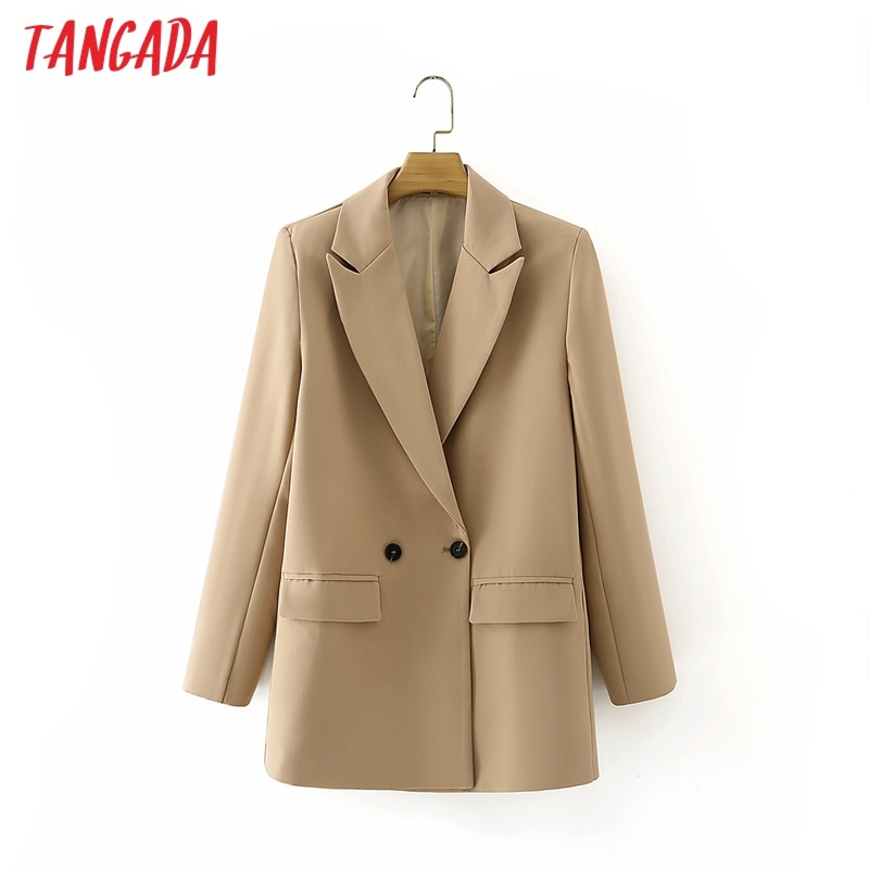 Tangada Women Khaki Blazer Coat Vintage Notched Collar Pocket 2021 Fashion Female Casual Chic Tops DA02
