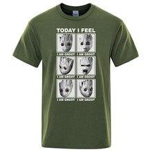 Marvel en tees bugün hissediyorum ben groot t shirt erkek pamuk streetwear t-shirt Hip Hop tshirt karikatür Harajuku camisetas hombre