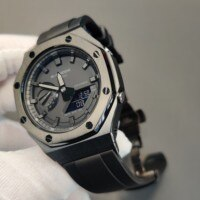 Hontao GA2100 2th Generation Metal Bezel GA2110 Watch Strap Adapter Fluorine Rubber Watch Band for GA-2100/2110