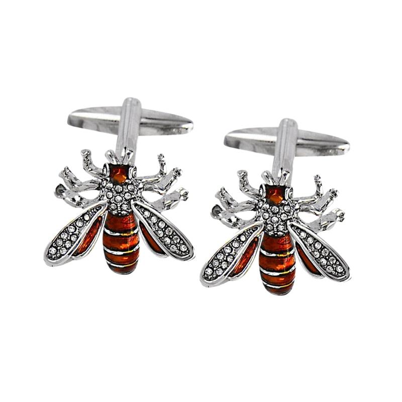 Abotoaduras masculinas red bee animal manga de cristal francês unhas negócios casamento camisa abotoaduras