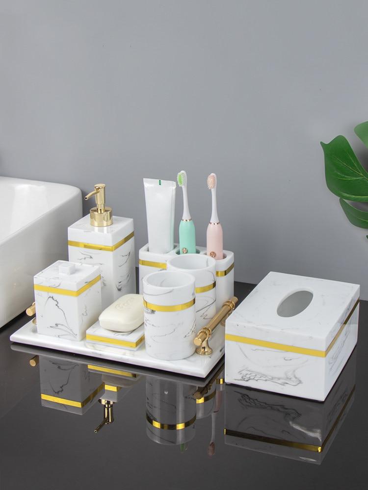 Resin Bathroom Set Liquid Soap Dispenser Toothbrush Holder Gargle Cup Tray Cotton Swab/Tissue Box 4-5 Piece Sets Nordic Style