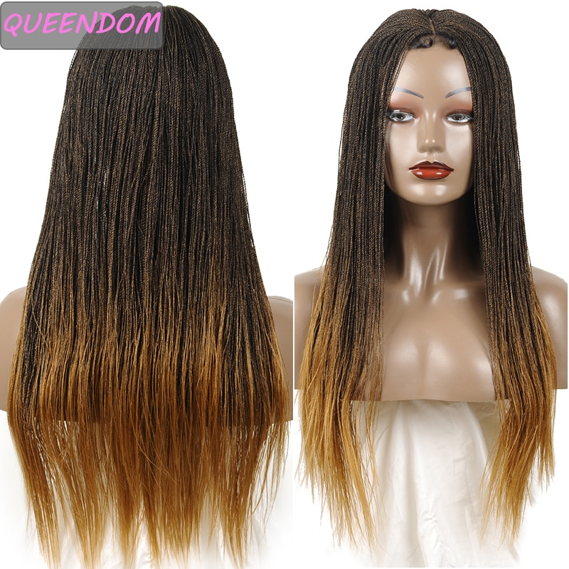 Ombre Braided Senegalese Twist Lace Front Wigs Blonde Long Synthetic Wig 30