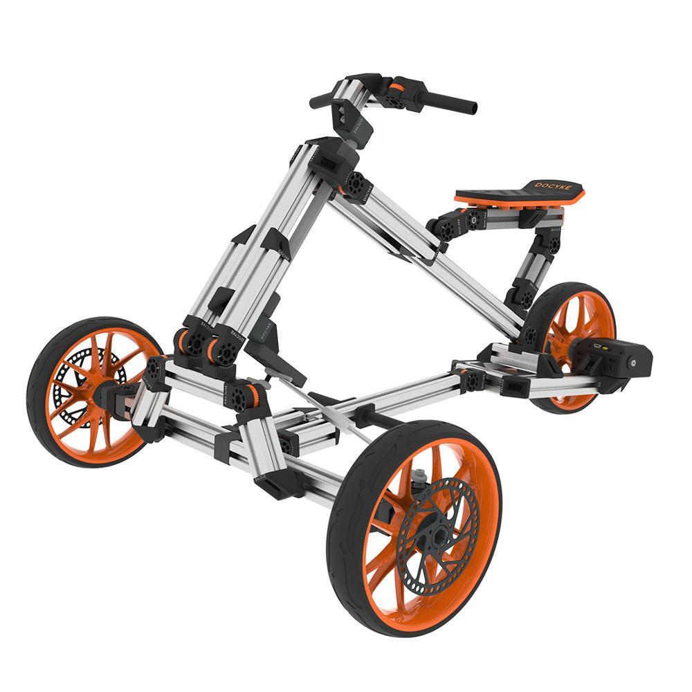 Juegos creativos de montaje DIY de Docyke juego de carreras 10 en 1 bicicleta de Trike eléctrico Go Kart con marco multimodo para diversión de los padres de los niños