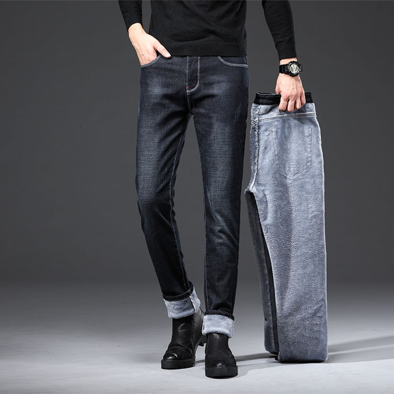 Autumn And Winter Jeans Men's Slim Straight Tube Retro Slim Casual Plush Korean Fashion Versatile Pants