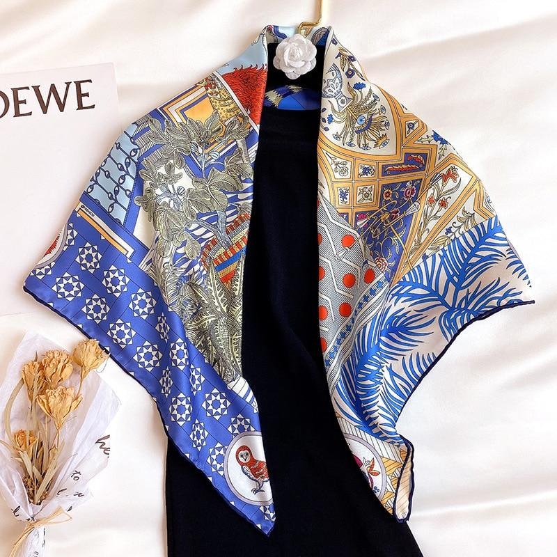 New Arrival Twill Silk Scarf Women Neck Headband Fashion 2020 Scarves Bandana Foulard Femme Hijab Pashmina Poncho Shawls jinjin qc 2019 new fashion women viscose scarf rose printed bandana jilbab instan muslim hijab jersey scarves foulard femme