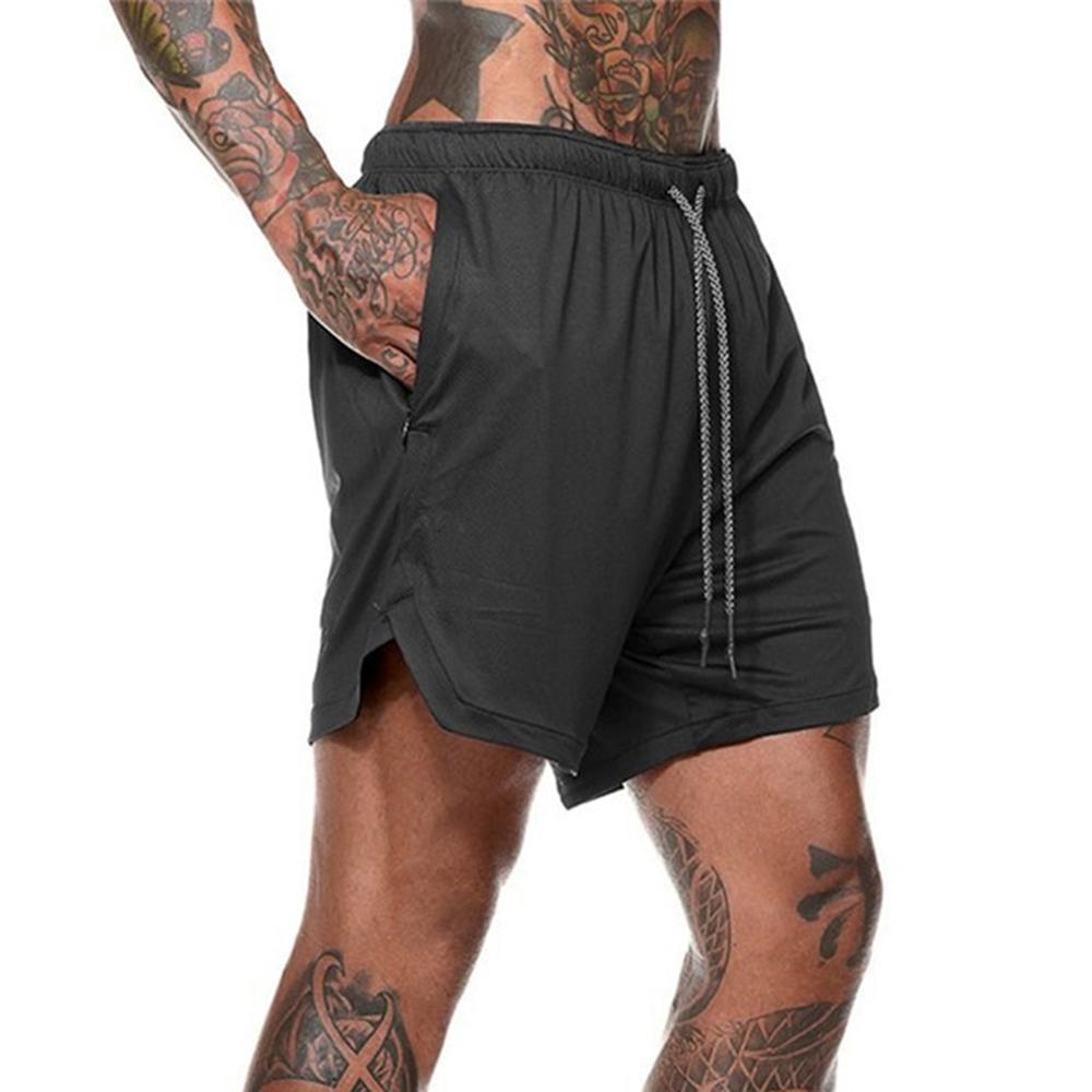 Hommes été Shorts de course 2 en 1 Sport cyclisme Fitness Shorts dentraînement à séchage rapide hommes Shorts de Sport hommes Sport demi pantalon 2020 nouveau
