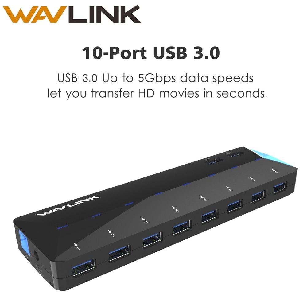 Суперскоростной концентратор USB 3,0 с 10 портами, адаптер питания 12 В, 4 а, 48 Вт, 2 порта, быстрая зарядка, многофункциональный концентратор для н...