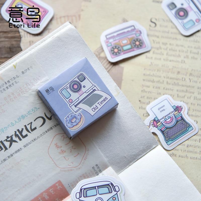Nostalgic Time Camera Series Sticky Stickers Color Paper DIY Decoracion Scrapbooking Office School Supplies Sticker Flakes 45PCS