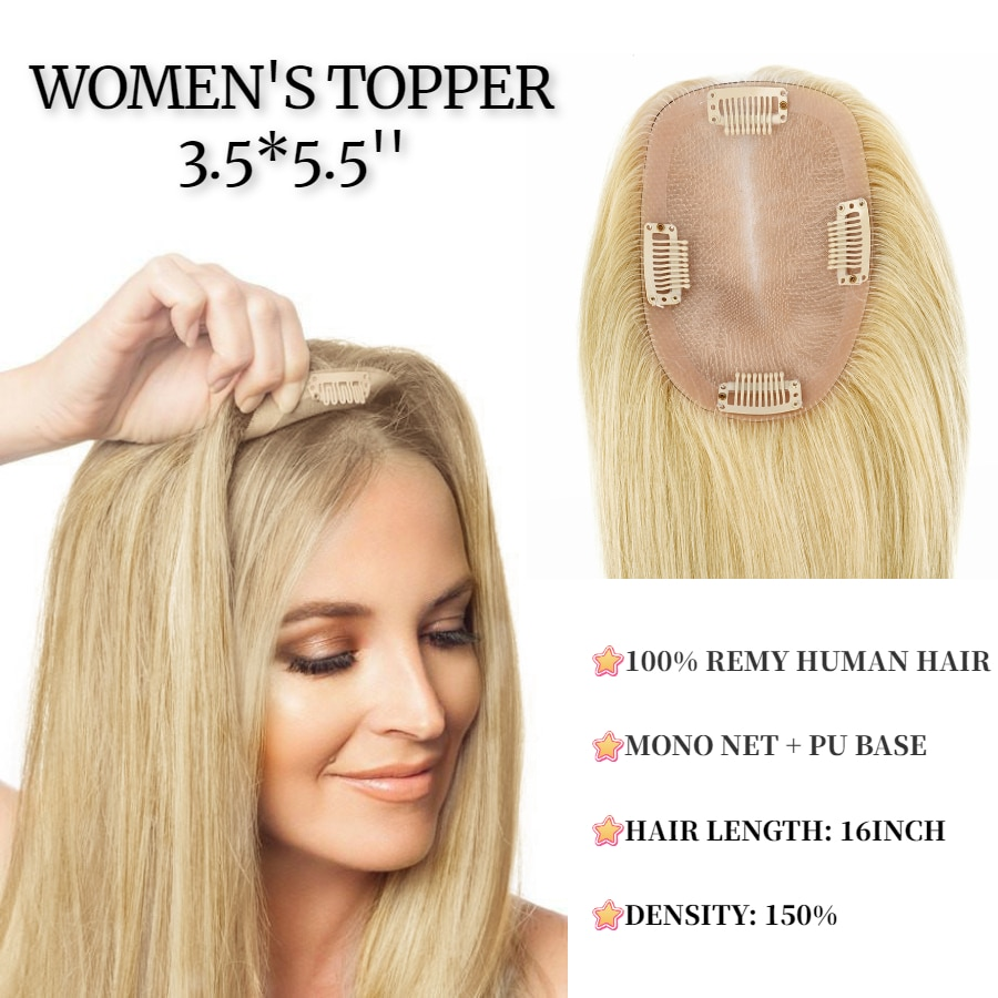 K.S WIGS 9*14cm Remy Hair Topper 150% Density Natural Hairpiece Clip In Hair Extensions Human Hair Toupee For Women 8 colors