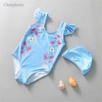 girls one piece swimsuit kids swimwear with light blue stripes 1 7 y children bathing suits baby beachwear toddler water wear