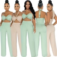 womens two piece suit european and american sexy summer wild trend solid color wrapped chest halter trouser suit various wear