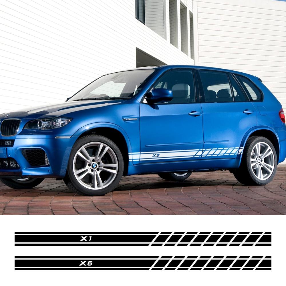 2 uds Auto calcomanías Puerta de coche falda lateral pegatinas para BMW X5 E70 E53 F15 X3 F25 E83 X6 F16 E71 X1 F48 E84 X2 X4 F26 X7 Accesorios