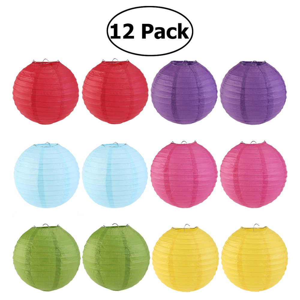 WINOMO 12pcs 6 Colors 25cm Round Paper Lanterns with Wire Ribbing (Red+Light Green+Rose Red+Sky Blue+Dark Purple+Yellow)