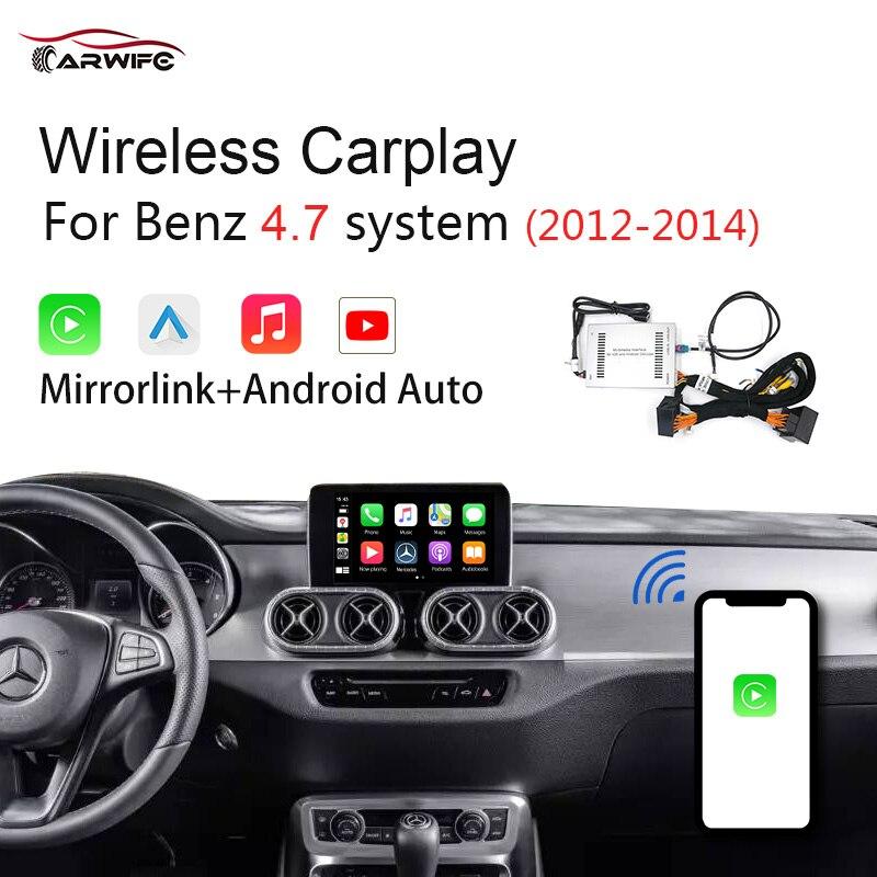 Inalámbrico Carplay Android Auto reproductor Multimedia para Mercedes Benz NTG4.7 2010-2014 GLA un GLC C B E CLS GLE GL coche jugar IOS 13