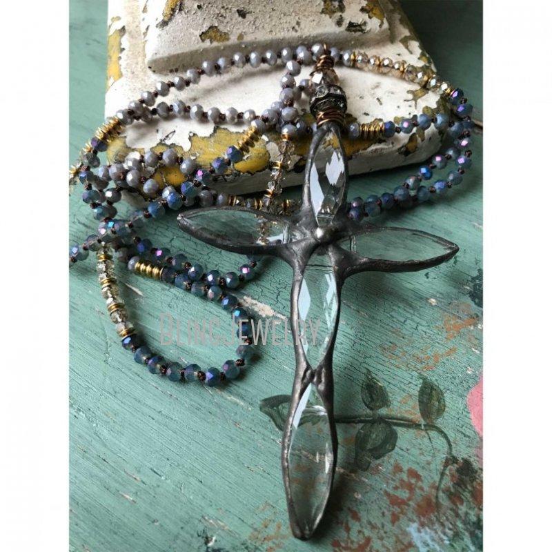 Boho Cross Necklace Unique Fashion Statement Simple Gunblack Soldered Cross PendantHand Knot Necklace Unique Accessory NM14557
