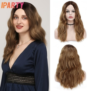 Natural Wave Highlight Brown Synthetic Wigs Middle Part For Women Shoulder Length Hair High Temperature Fiber Cosplay Wig IPARTY