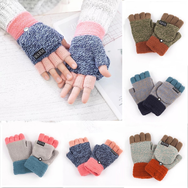 Теплые шерстяные перчатки, варежки, унисекс перчатки, зимние перчатки, вязаные флип-перчатки без пальцев, гибкие толстые перчатки с открыты...