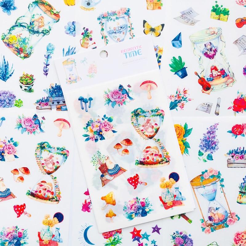 6 hojas/Paquete de pegatinas de papel románticas para tiempo, artesanías adhesivas, etiqueta adhesiva, cuaderno, decoración DIY para teléfono y ordenador