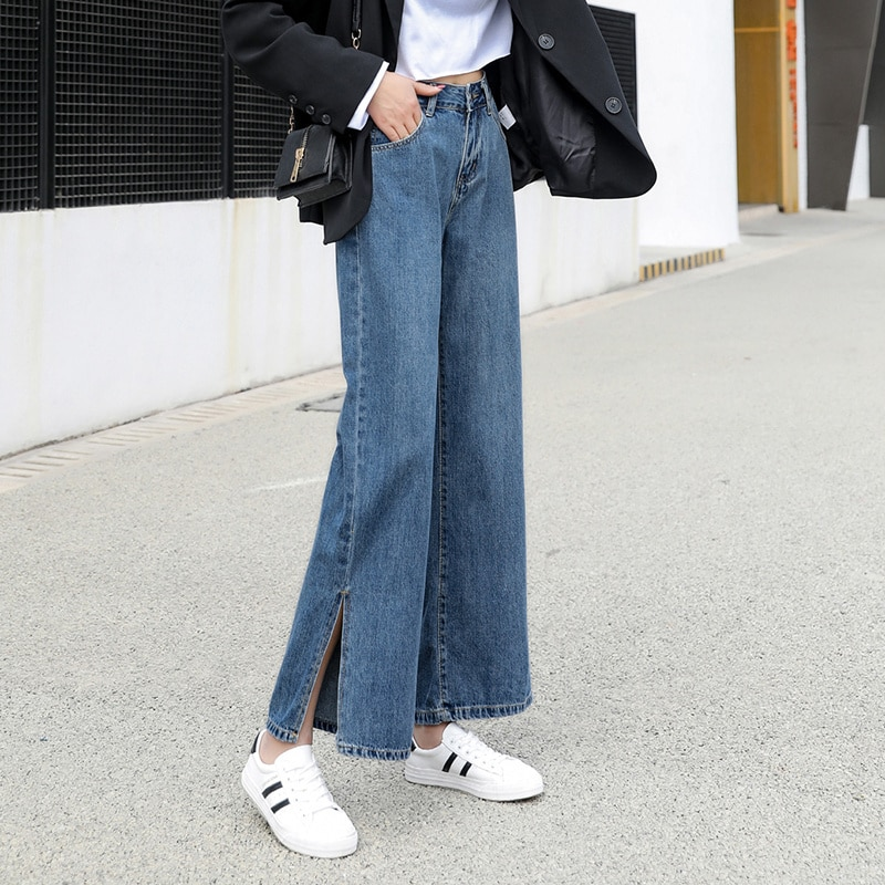 Real Shot Wide Leg High Waist Jeans Women's Autumn and Winter Loose Slippers