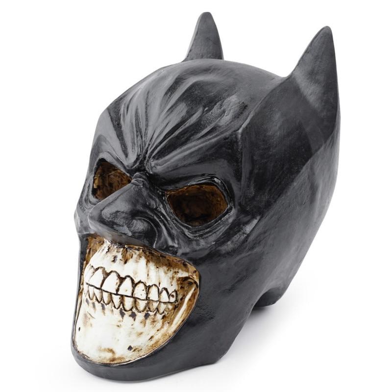 Estatua de cráneo de resina negra, escultura de cráneo humano de Batman, decoración de modelo de Halloween, decoración de cabeza de cráneo con personalidad