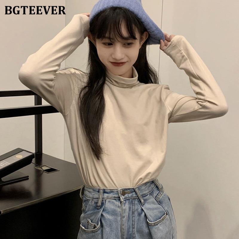 BGTEEVER Korean Candy Color Blouses Tops Women 2019 Autumn Turtleneck Cotton Long Sleeve Shirts Female Loose Basic Tops femme