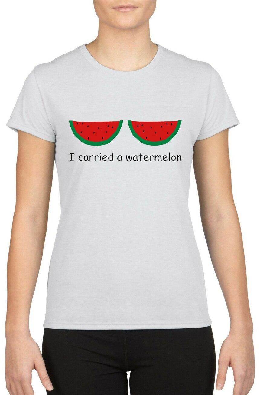 "Camiseta de mujer con eslogan de Frases divertidas con frase ""I Carried A sandía"" W846 Tops camiseta"