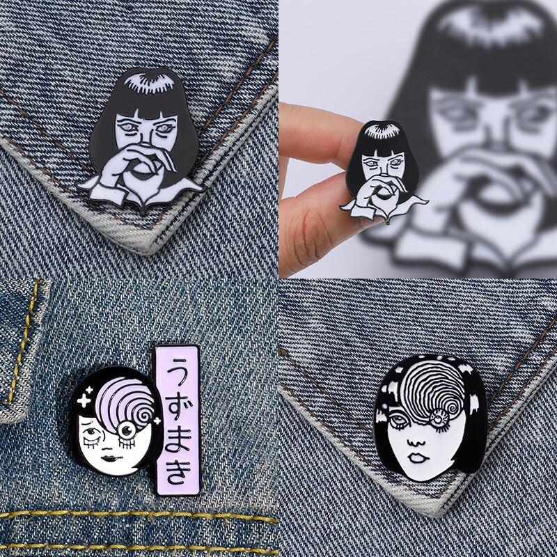 Punk cowboy filme personagens menina colar broche esmalte pino broches de metal para feminino emblema pines metalicos brosche acessórios