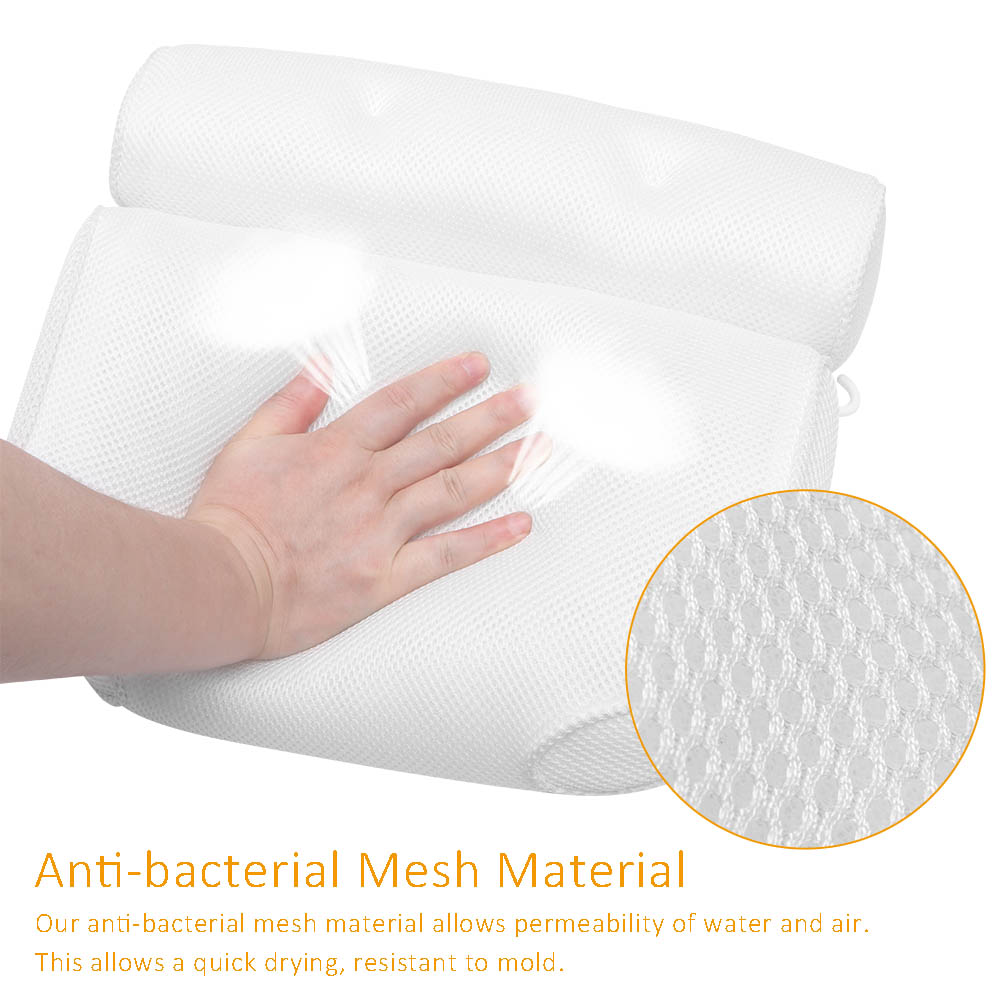 2021 Breathable 3D Mesh Spa Bath Pillow with Suction Cups Neck and Back Support Spa Pillow for Home Hot Tub Bathroom Accessories enlarge