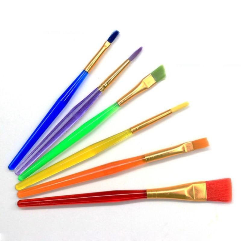 Aquarela 6 pçs/set crianças estudante gouache pintura caneta cabelo náilon plástico transparente lidar com pincel de pintura conjunto desenho arte suprimentos