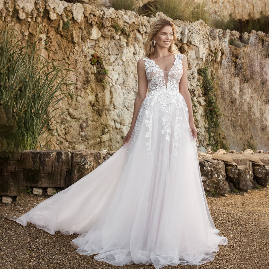 Vestido de novia con escote en V y apliques de encaje, traje...
