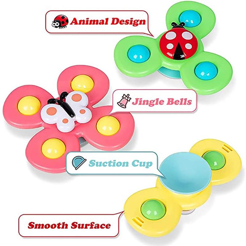 Baby Rattles For Kids Shower Bathroom Grasping Gyro Animal Sucker Spinner Montessori Touch Sensory toys For Newborn 0-12 Months