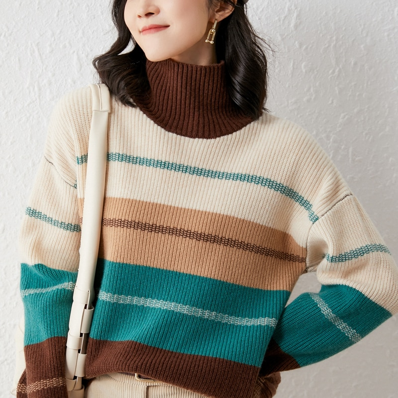 adohon 2021 woman winter 100% Cashmere sweaters knitted Pullover jumper Warm Female Turtleneck blouse blue long sleeve Patchwork enlarge