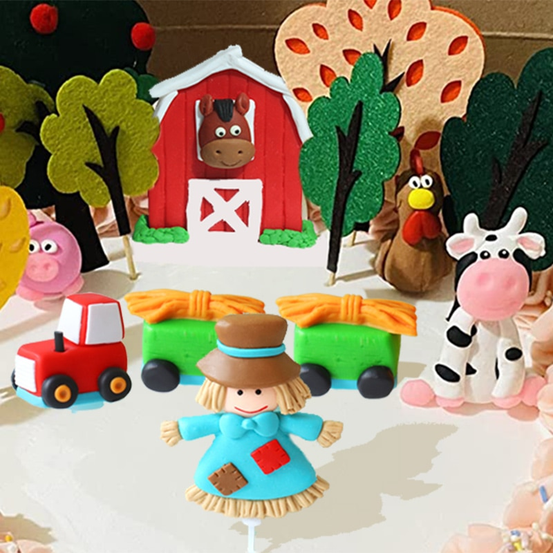 Топпер для торта, украшение для торта, ферма, вечеринка, ферма, день рождения, ферма, украшение для вечеринки, украшение для торта, украшение ...