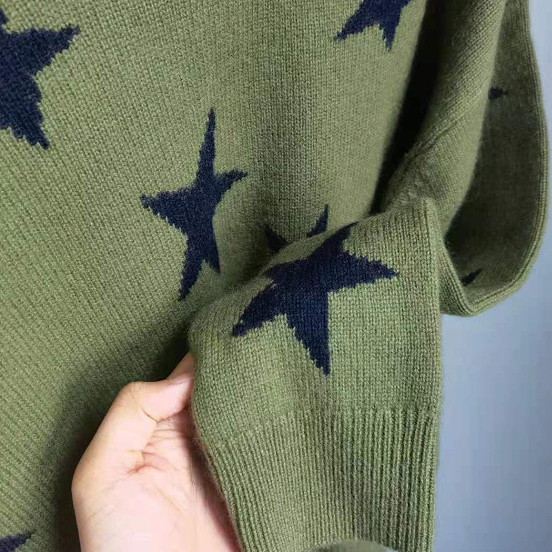 Rowling Autumn Winter Woman Cashmere Sweater Pink Stars Jacquard Round Neck Drop Shoulder Oversized Pullovers Jumper Tops 2021 enlarge