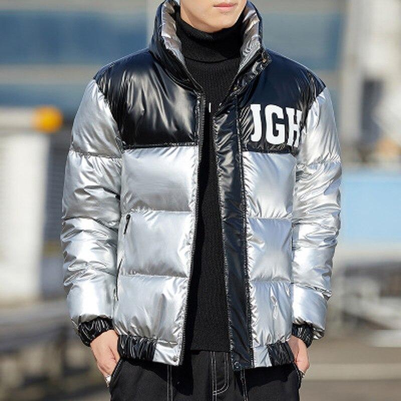 Светоотражающая куртка, парка, мужская зимняя куртка с хлопковой подкладкой, пальто, мужские теплые куртки, мужские пальто с принтом и ворот...