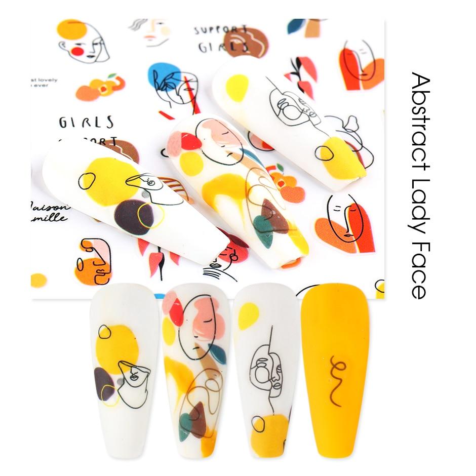 NEW 3D Abstract Lady Face Nail Sticker Color Block Adhesive Gel Polish Sliders Nail Decorations Summ