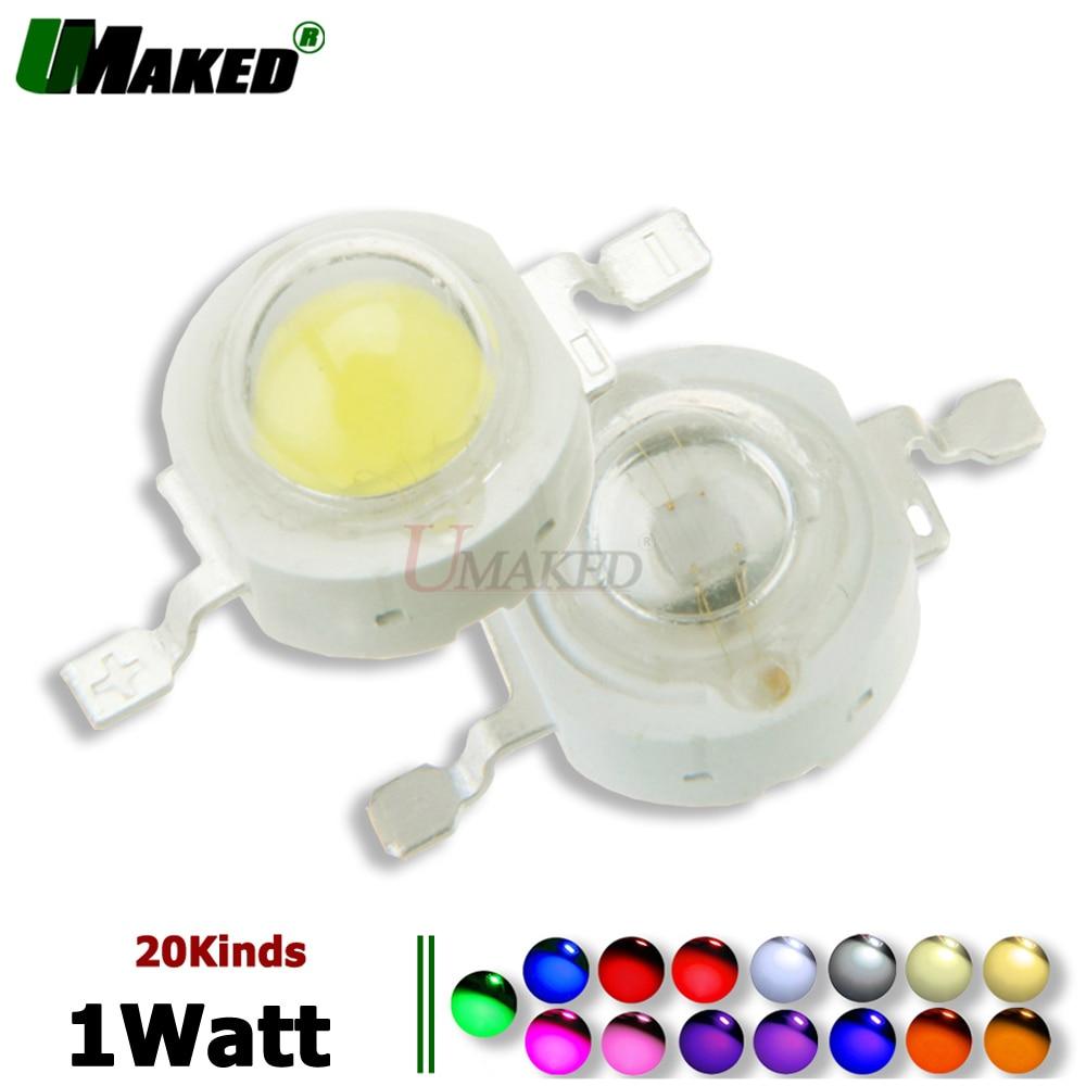 Chips LED de alta potencia de 1W Epistar 33/45mil, chip de luz DC3-3.4V 350mA, diodo SMD COB, blanco, rojo, azul, amarillo, verde para foco de bombilla