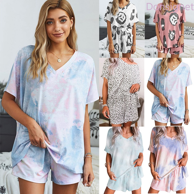 Donsignet Women's Suit New Fashion Summer Tie-dye Printing Short-sleeved V-neck Shorts Plus Size Home Service Two-piece Suit