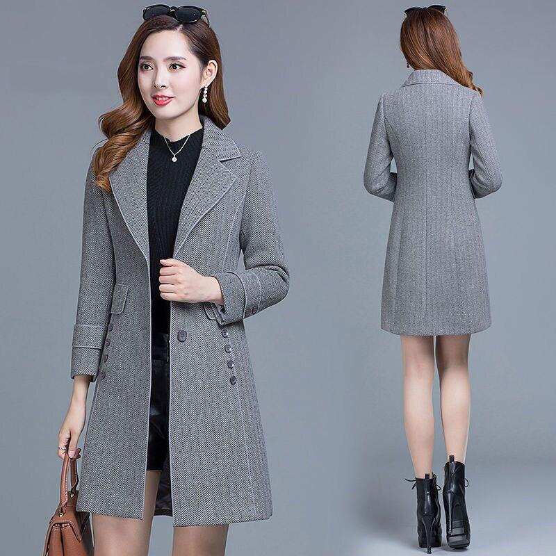الشتاء سميكة الصوف معاطف طويلة النساء ضئيلة شريط الكورية نمط منقوشة معطف الإناث التلبيب حجم كبير 4XL الصوف مزيج أبلى