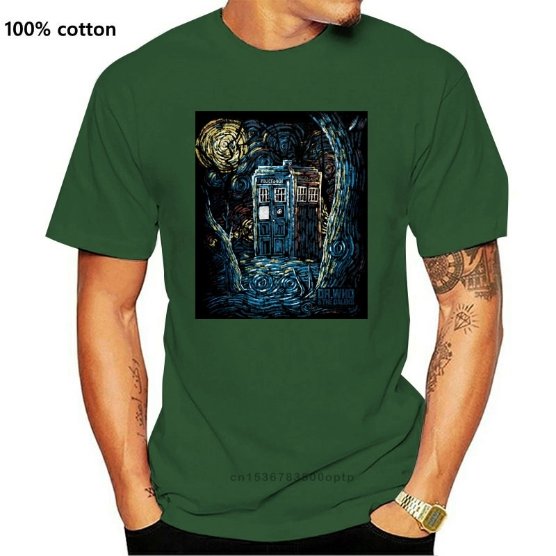 Doctor Who Stary noc oryginalna sztuka T-Shirt, Tardis Tee