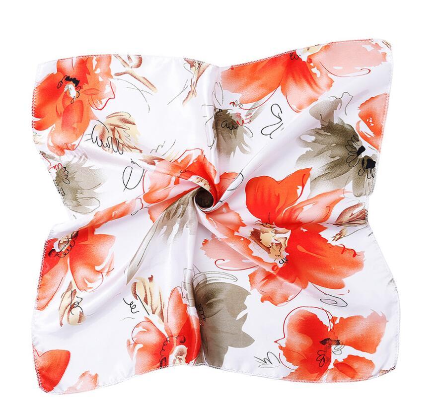Nova primavera verão feminino lenço quadrado xale e envoltório senhora cabelo pescoço cachecóis alegria