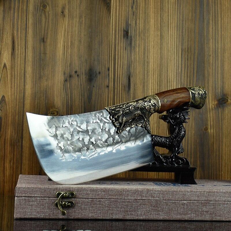 Cozinhe artesanal lâmina fixa grande completa artesanal faca do chef duro lâmina de aço folheado carniceiro abate cutelo faca cozinha cortar