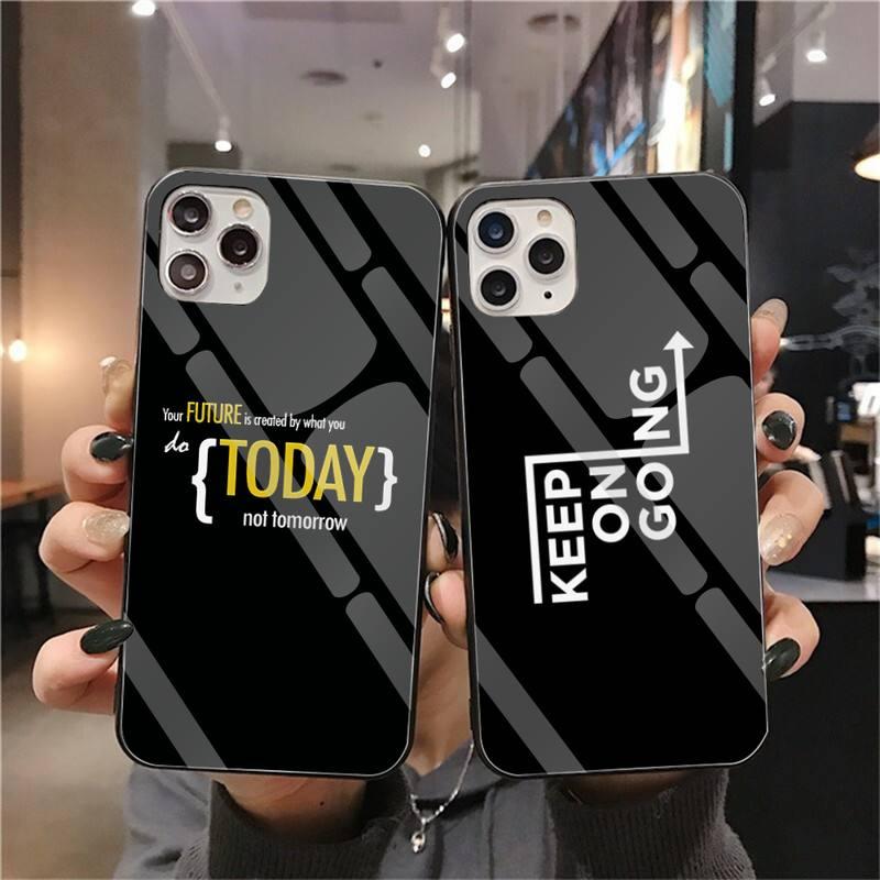 HPCHCJHM maxim texto motivacional negro Funda de teléfono de vidrio templado para iPhone 11 Pro XR XS MAX 8X7 6S 6 Plus SE 2020 funda
