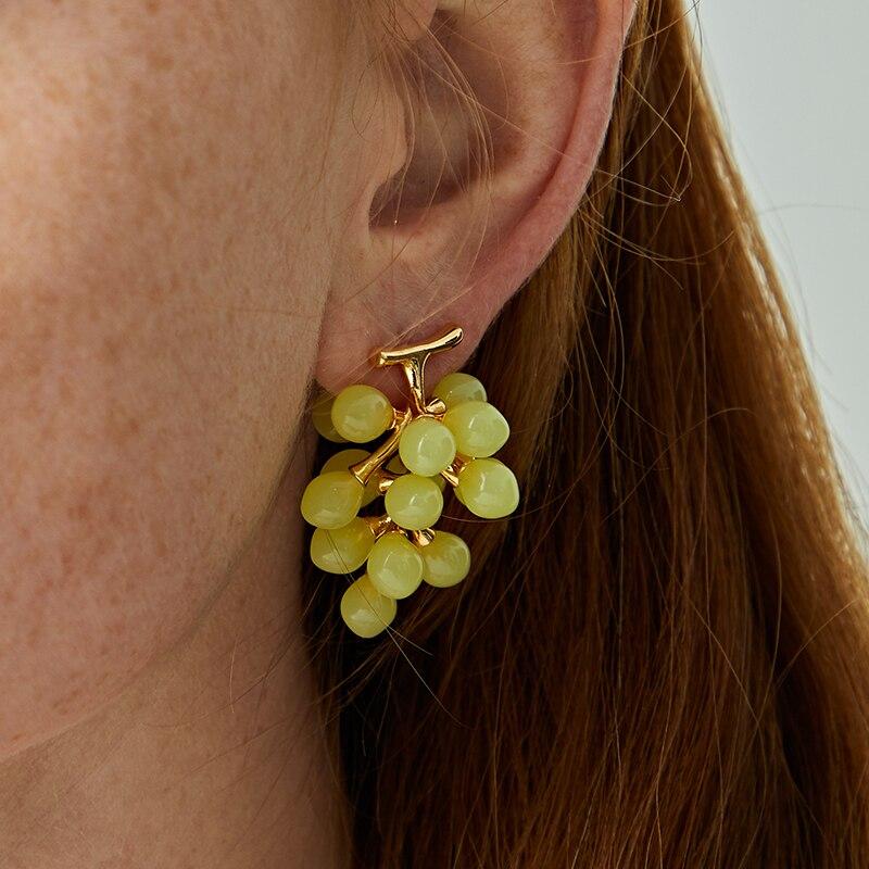 Timeless Wonder Glam 3D Resin Grape Statement Stud Earring Women Jewelry Gothic Boho Designer Ins Punk Trendy Lovely Top 3167