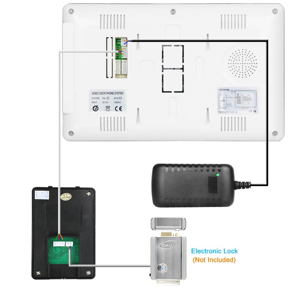 Visual Intercom Doorbell 7'' TFT LCD Wired Video Door Phone System Indoor Monitor 700TVL Outdoor IR Camera Support Unlock enlarge