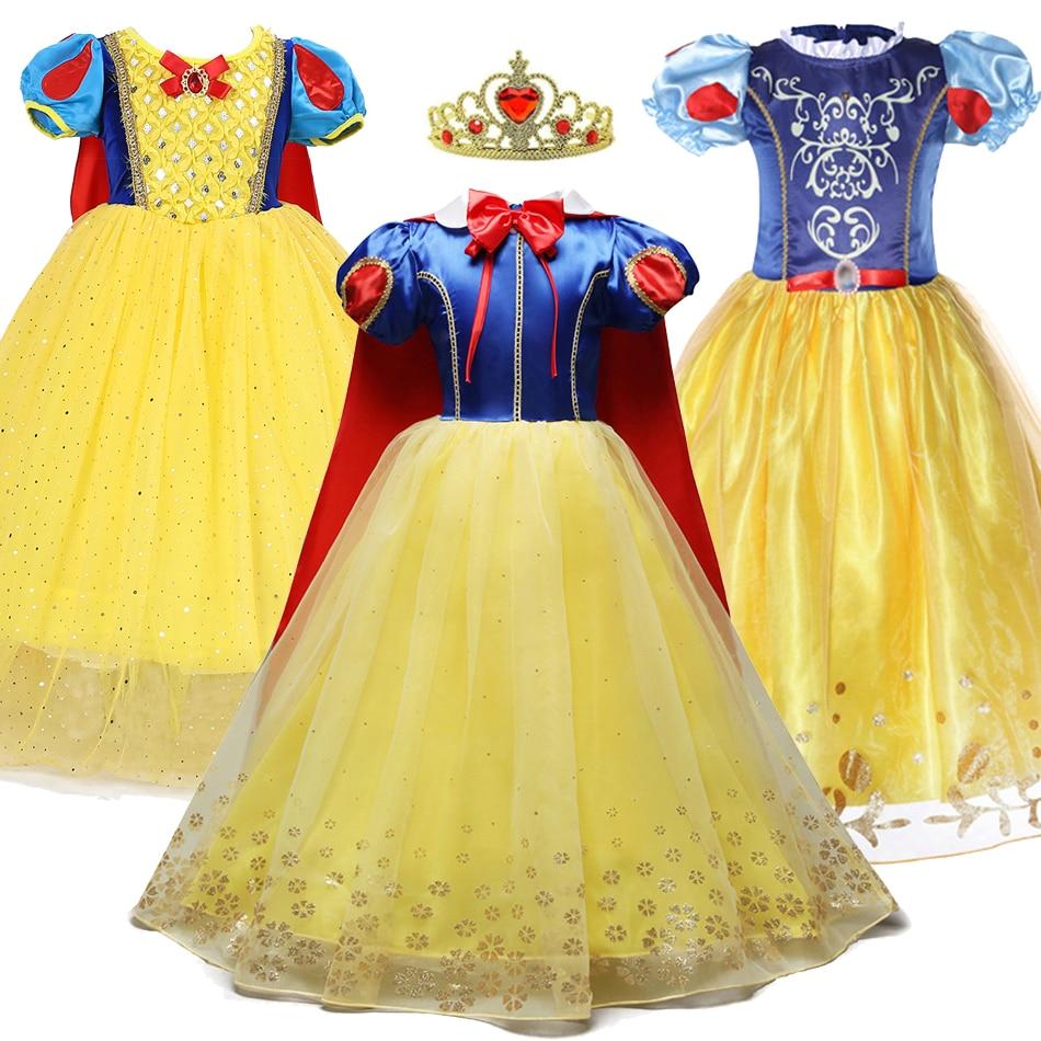 3 4 5 6 7 8 9 10 años vestido de princesa para niñas Cosplay disfraz Blancanieves Summe niños fiesta de cumpleaños ropa corta niños