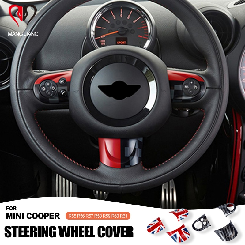 Union Jack For MINI COOPER R55 R56 R57 R58 R59 R60 R61 Countryman Clubman Steering Wheel Panel button Sticker Cover Sticker Case