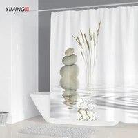 YIMING     rideau de douche imprime galets  lavable  avec crochet  decoratif pour salle de bain  3d  240x180cm