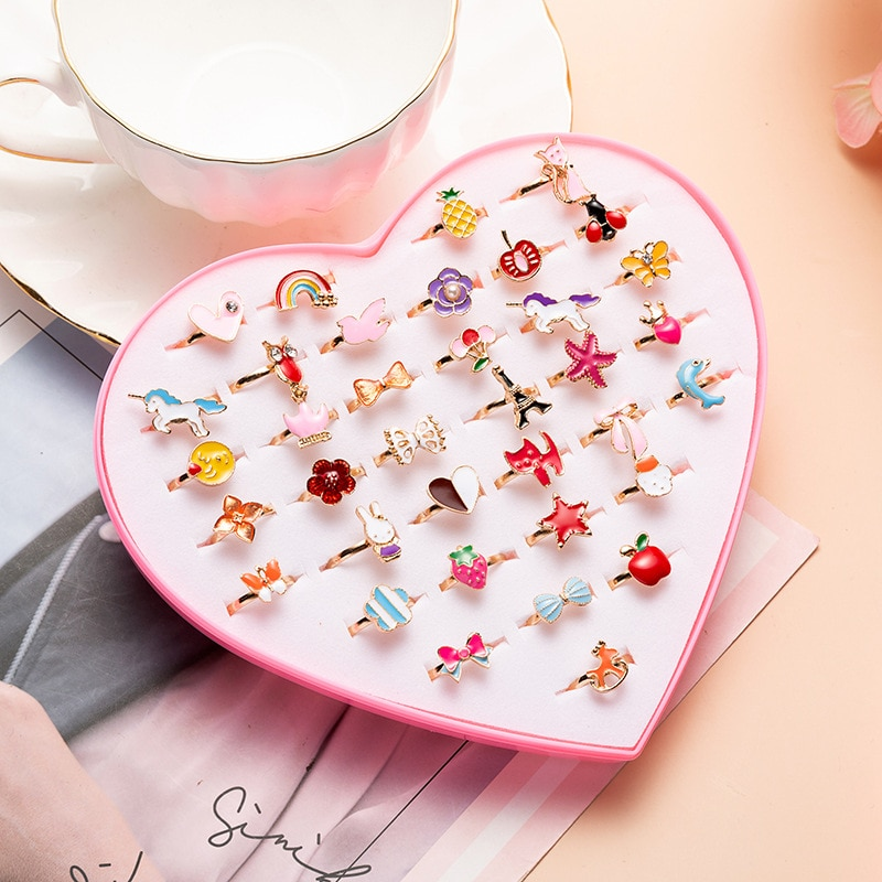 aliexpress.com - 36 1-box cartoon children's rings lovely beautiful alloy mixed color rings